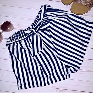 Blue & White Striped Paper Bag Shorts